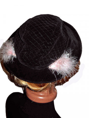 Pink Feathers Vintage Hat '40s