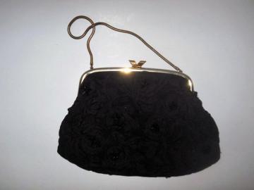 Poseta vintage neagra pasmanterie anii '30