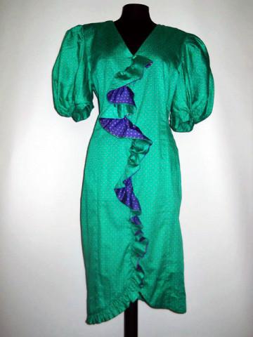 Rochie buline verde cu violet anii '80
