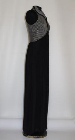 Rochie de seara vintage alb cu negru anii '70