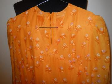 Rochie maxi vintage din batist portocaliu anii '60
