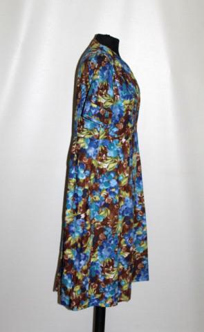 Rochie print floral albastru și maro anii 50