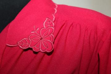 Rochie vintage crepe rosu garoafa anii '70