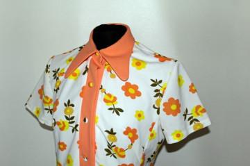 "Rochie vintage flori portocalii ""Diolen Loft"" anii '70"