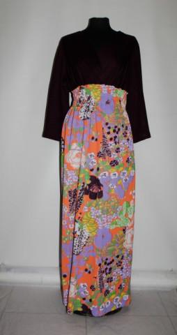 Rochie vintage maxi cu flori violet anii '70