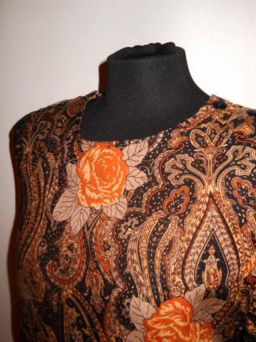 Rochie vintage print paisley si trandafiri anii '70