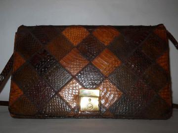 Poseta vintage patchwork piele de sarpe maro anii '70
