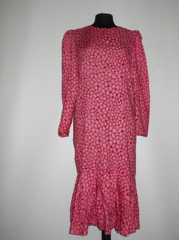Rochie print geometric roz si visiniu anii '70