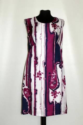 Rochie vintage mod violet, bleumarin si alb anii '60