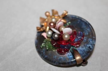 Broșă din sticlă de Murano și metal perioada victoriană cca. 1860