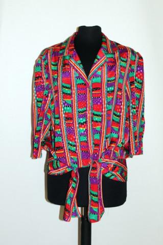 Camasa retro print geometric rosu, violet si verde anii '80