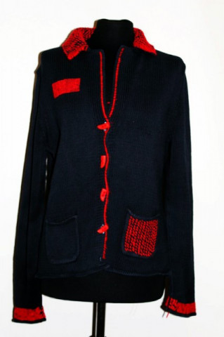 Cardigan vintage bleumarin si rosu anii '70 - '80