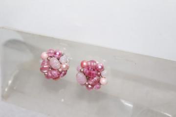 Cercei vintage floare roz anii '50