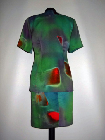 Deux pieces vintage verde print abstract anii '70