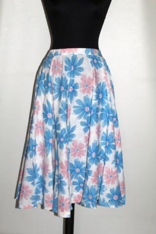 Fustă flori roz și bleu anii 70