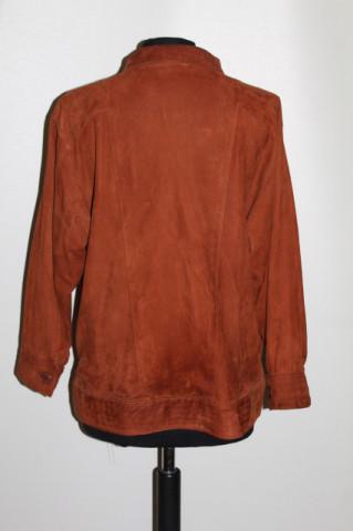 Jachetă din piele întoarsă maro roșcat anii 70-80