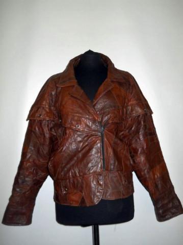Jacheta retro patchwork piele maro anii '80