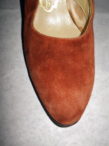 Pantofi vintage piele intoarsa maro anii '70