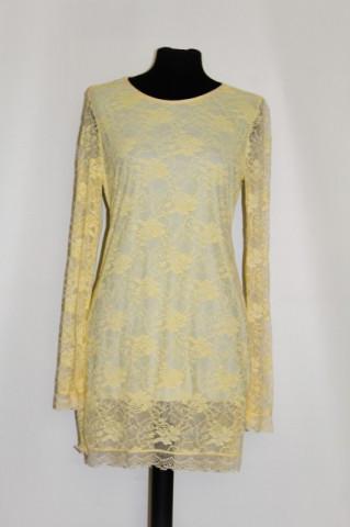Rochie de ocazie din dantela galben confetti anii '90