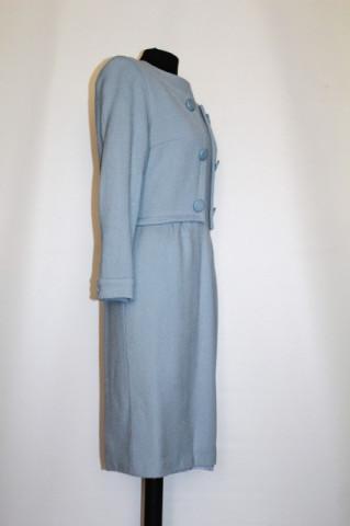 Rochie vintage bleu cu nasturi ornamentali anii '70