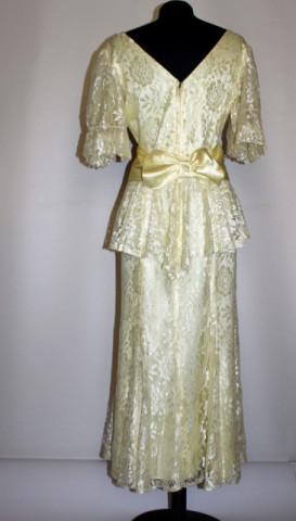 Rochie vintage de ocazie din dantela galbena anii '50