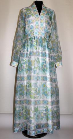 Rochie vintage din organza cu flori bleu anii '60