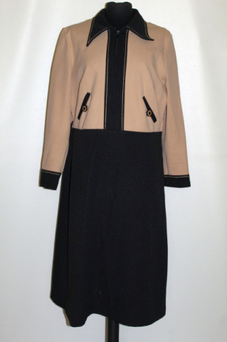 Rochie vintage negru cu bej anii 70