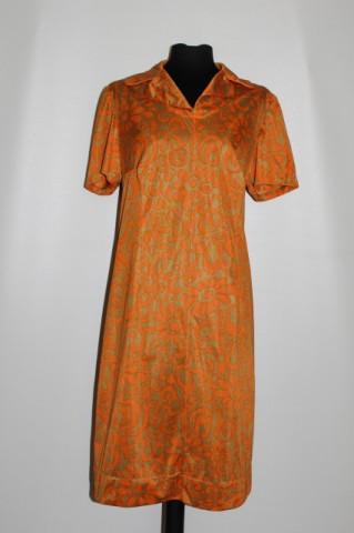 Rochie vintage portocaliu cu kaki anii '60