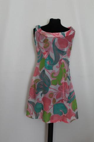 Rochie vintage print abstract roz si verde anii '60