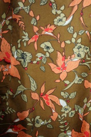 Rochie vintage print orhidee portocalii anii 60