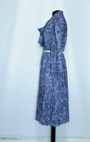 Rochie vintage print paisley si pliseuri anii '70