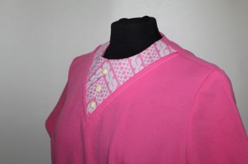 Rochie vintage roz print in relief anii '60