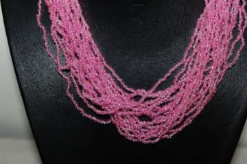 Set colier, bratara si cercei roz anii '80