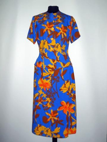 "Deux pieces flori galbene pe fond albastru ""Didier Parakian"" anii '90"