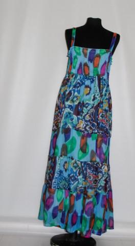 Rochie maxi print abstract multicolor repro anii '70