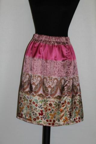 Fusta roz print paisley si floral - oriental anii '90