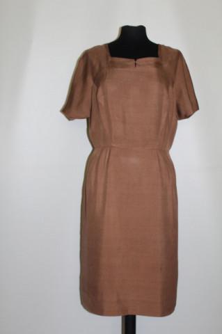 Rochie vintage din mătase naturală maro anii '50