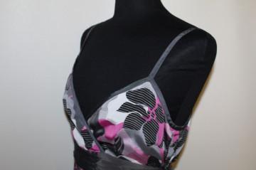 Bluza print abstract fucsia si gri repro anii '70