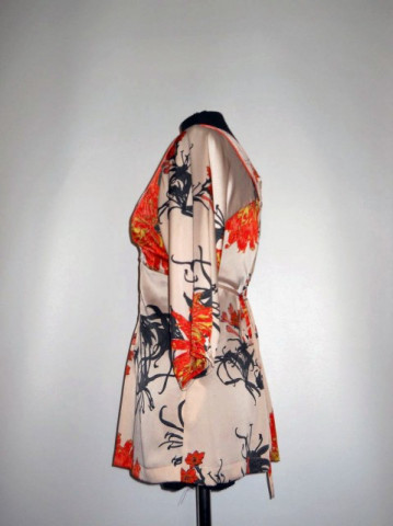 Bluza print floral corai repro anii '70