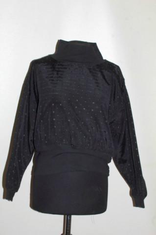 Bluzon negru picățele brodate anii 80