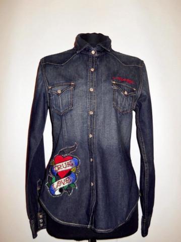 "Camasa retro jeans """"Christian Audigier"" anii '90"