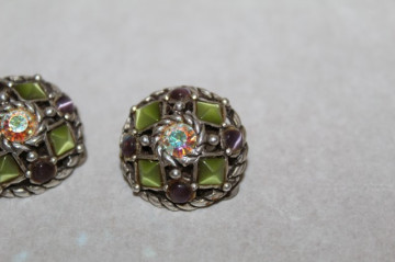 Cercei pietre verzi si cristal Aurora Borealis anii '60