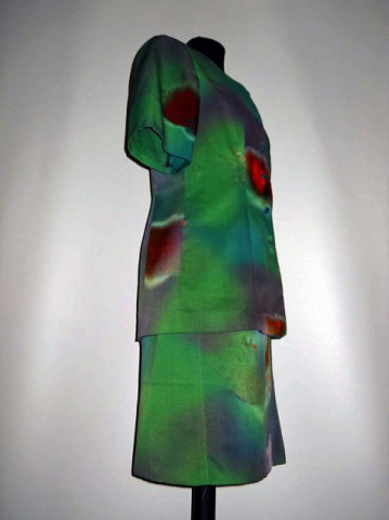 Deux pieces vintage verde print abstract anii '70