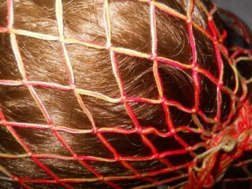 Hair Snood vintage rosu cu galben anii '40