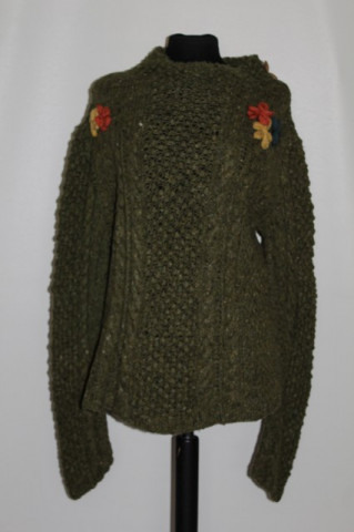 Pulover vintage verde muschi flori aplicate anii '70