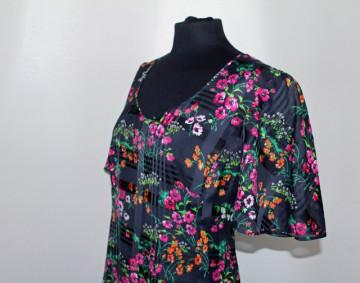 Rochie maxi din voal print floral anii '70