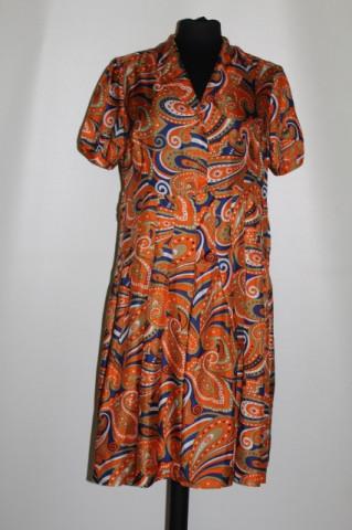 Rochie portocalie din mătase naturală anii 60