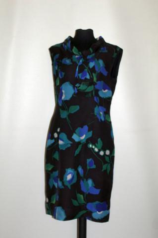 Rochie vintage flori albastre și verzi anii 60