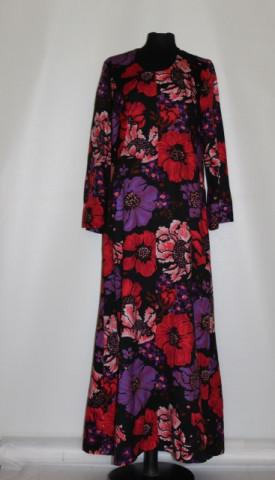 Rochie vintage maxi flori uriașe roșii și violet anii 70