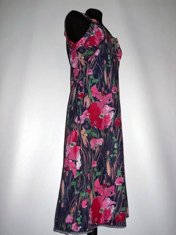 Rochie vintage print floral roz anii '60